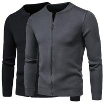 Modern Vest voor Heren in Effen Kleur met Lange Mouwen en Ronde Hals