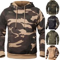 Moderne Hoodie voor Heren met Camouflagepatroon en Lange Mouwen