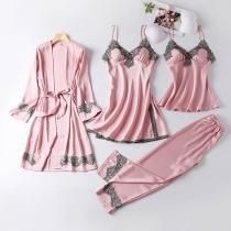Sexy Nachtkledingset met Kanten Design bestaande uit een Topje met Bandjes + Nachthemd met Bandjes + Broekje + Badjas