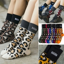Moderne Sokken met Contrasterende Kleuren en Luipaardpatroon