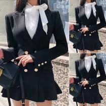 OL Style Long Sleeve Double-breasted Ruffle Hem Suit Dress