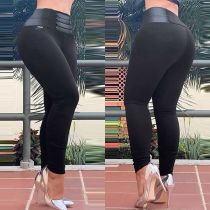 Fashion Solid Color High Waist Tight Pants