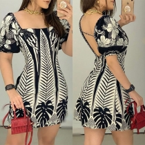 Sexy Backless Square Collar Short Sleeve Sim Fit Printed Dress