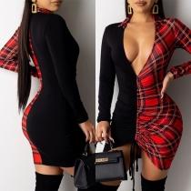 Sexy Deep V-neck Long Sleeve Plaid Spliced Tight Dress