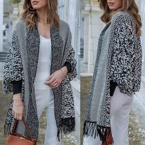 Modern Vest met Pofmouwen Chic Patroon en Franjes aan de Zoom