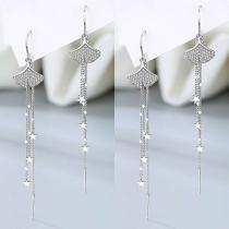 Fashion Rhinestone Inlaid Ginkgo Leaf Tassel Earrings