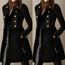Fashion Solid Color Long Sleeve Plush Spliced Double-breasted Coat