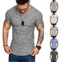 Eenvoudig T-shirt voor Heren met Korte Mouwen en Ronde Hals