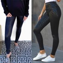 Modieuze Rekbare Legging met Chic Patroon en Hoge Taille