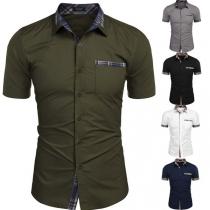 Modern Hemd voor Heren met Geruite Accenten Korte Mouwen en Polokraag