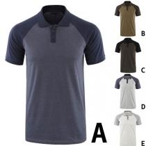 Modern T-shirt voor Heren in Contrasterende Kleuren met Korte Mouwen en Polokraag