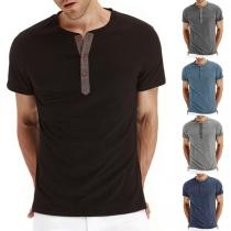 Eenvoudig T-shirt voor Heren met Korte Mouwen Ronde Hals en Effen Kleur