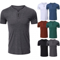 Casual T-shirt voor Heren met Korte Mouwen V-hals en Effen Kleur