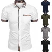 Modern Overhemd voor Heren met Geruite Accenten Korte Mouwen en Polokraag