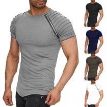 Modieus T-shirt voor Heren met Ronde Hals en Raglanmouwen en Ronde Hals
