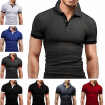 Modern T-shirt voor Heren met Contrasterende Kleuren Korte Mouwen en Polokraag