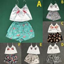 Leuke Ttweedelige Nachtkleding Set met Dierenprint bestaande uit een Topje met V-hals en Bandjes + Short