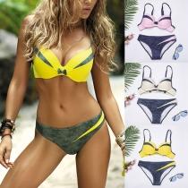 Sexy Push-Up Bikiniset met Contrasterende Kleuren en Lage Taille
