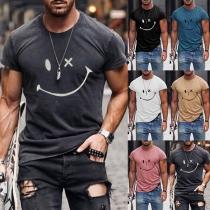Smiley T-shirt voor Heren met Korte Mouwen en Ronde Hals