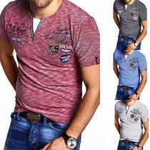 Casual T-shirt voor Heren met Korte Mouwen en V-hals