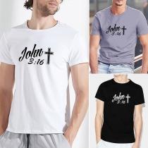 Casual Bedrukt T-shirt voor Heren met Korte Mouwen en Ronde Hals