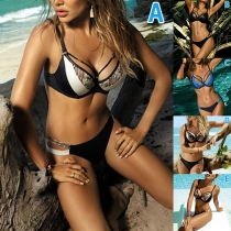 Sexy Bikiniset met Contrasterende Kleuren en Lage Taille