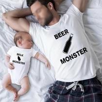 Casual T-shirt voor Vader en Zoon met de Tekst Milk en Beer Monster Korte Mouwen en Ronde Hals