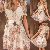 Sexy Gauze Spliced Short Sleeve V-neck High Waist Sequin Party Dress