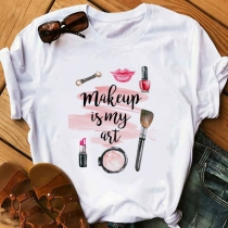 Casual Style Cosmetics Printed Short Sleeve Round Neck T-shirt