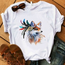 Simple Style Wolf Head Printed Pattern Short Sleeve Round Neck Casual T-shirt