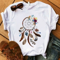 Simple Style Short Sleeve Round Neck Dreamcatcher Printed Pattern T-shirt