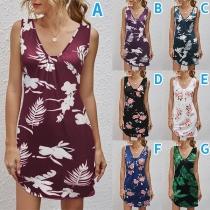 Fashion Sleeveless V-neck Printed Dress