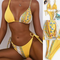Sexy Printed Spliced ow-waist Lace-up Bikini Set