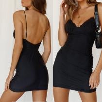 Sexy Backless V-neck Solid Color Slim Fit Sling Mini Dress