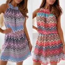 Sexy Backless Sleeveless Round Neck Wavy-stripe Printed Dress