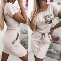 Fashion Serpentine Printed Spliced Short Sleeve Round Neck Drawstring Waist Dress