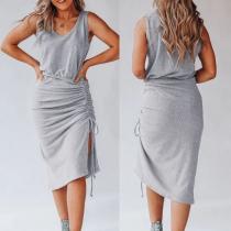 Simple Style Sleeveless Round Neck Side Drawstring Hem Dress