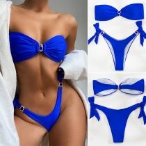 Sexy Low-waist Solid Color Bandeau Bikini Set