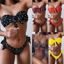 Sexy Bandeau Bikiniset met Geknoopt Design Puntenpatroon en Lage Taille