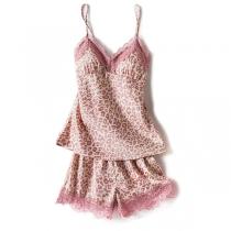 Sexy Nachtkleding Set met Vrije Rug V-hals Kanten Design en Luipaardpatroon