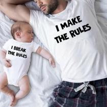 Casual met Tekst Bedrukt Ouder-Kind T-shirt met Korte Mouwen en Ronde Hals