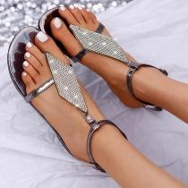 Moderne Sandalen met Platte Zolen en Strass