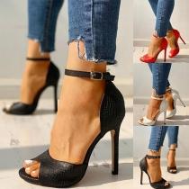 Sexy Schoenen met Vrije Tenen Hoge Hakken en Enkelbandjes