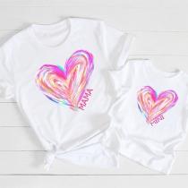 Casual T-shirt voor Moeder en Dochter met Hartjesmotief Korte Mouwen en Ronde Hals