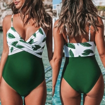 Sexy Badpak voor Zwangere Vrouwen met Open Rug V-hals Chic Patroon en Bandjes
