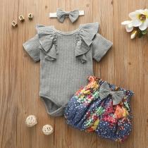 Leuke Tweedelige Set voor Baby's bestaande uit een Romper met Ruches + Bedrukt Broekje