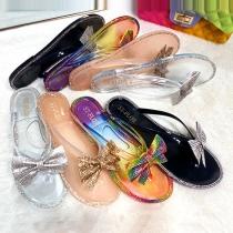 Moderne Slippers met Platte Zolen Strass en Strikjes