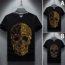 Modieus T-shirt met Doodshoofdmotief Strass Korte Mouwen en Ronde Hals
