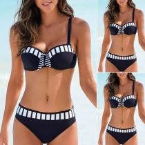 Sexy Push-Up Bikiniset met Lage Taille en Contrasterende Kleuren