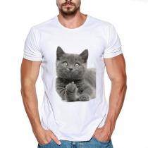 T-shirt voor Heren met Korte Mouwen Ronde Halslijn en Schattig Kattenmotief